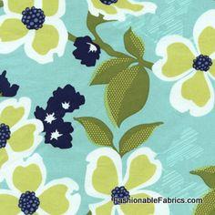 Fabric... Modern Meadow Dogwood Bloom in Pond by Joel Dewberry for FreeSpirit Fabrics