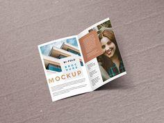 Floating bi-fold Brochure Mockup | MockupWorld