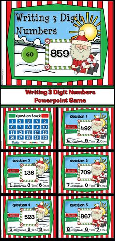 Practice place value with this fun, engaging Santa themed. game. Students must identifying the number when given how many ones, tens ,and hundreds.