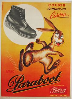 Paraboot original antique poster by artist Kalischer from 1948 France. French advertisement for shoes with rabbit running and winking on one eye.