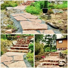 Trädgårdsgång av ölandssten och murad trappa av gamla tegelstenar