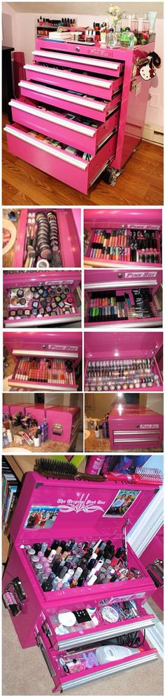 Make up toolbox! Great for paints, crafts, and jewelry! One day will be my collection hopefully.