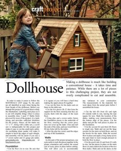 #833 Doll House Plans - Children's Wooden Toy Plans and Projects