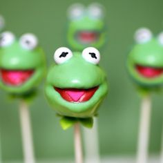 Kermit the Frog cake pops