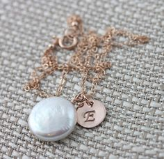 Personalized Coin Pearl Necklace on 14k Rose Gold Fill by true2u, $45.00