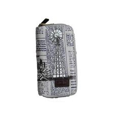 GREY LARGE PURSE WITH NEWSPAPER DESIGN & WINDMILL DETAIL