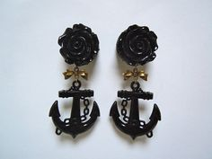 "Dangle Anchor Plugs / Gauges. Black Rose and Anchor Plugs. 3/4"" / 19mm, 7/8"" / 22mm, 1"" / 25mm plugs for stretched ears by Gauge Queen on Etsy, $27.00"