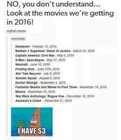 Lol then you look at 2017 and we have the FREAKING EMOJI MOVIE coming out