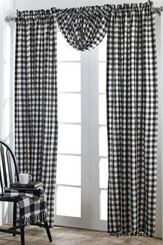 Buffalo Black Check Curtain Panels And Balloon Valance