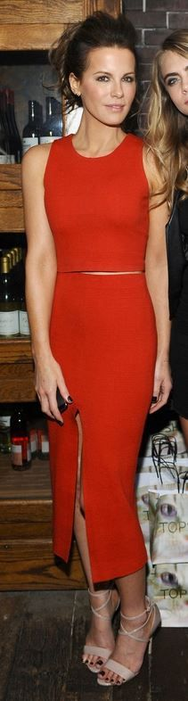 Who made  Kate Beckinsale's orange tank top, nude sandals, and skirt that she wore in Toronto on September 6, 2014