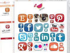 Social Media Sticker, Blog Stickers, Life Planner Stickers de SandiaDesignShop en Etsy