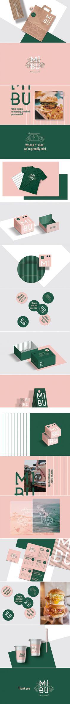 Mibu mini burgers restaurant brand identity by Studio AIO Brand Identity Design, Graphic Design Branding, Stationery Design, Corporate Design, Brochure Design, Logo Design, Branding And Packaging, Hotel Branding, Restaurant Branding