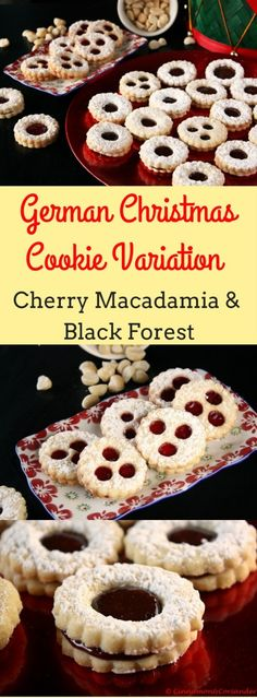 My favourite German Christmas Cookies (Spitzbuben Cookies) in two yummy variations: A buttery & tender Macadamia & Sour Cherry Sandwich Cookie or a boozy Black Forest Cookie with Almonds and a tart black forest jam!