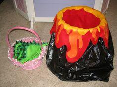 Use felt, beans, googly eyes, a trash can, a garbage bag, and a glue gun, make a bean bag toss game for a dinosaur birthday party!