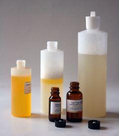 "Homemade Shampoo 1/4 cup liquid castile soap 1/4 cup water 1/2 teaspoon jojoba oil. Put it in a spray bottle for a ""spritz-on shampoo"""