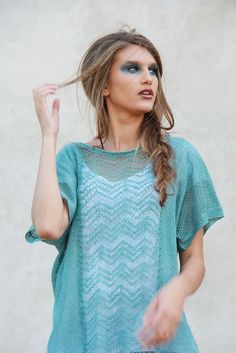 Loose Tunic Linen Shirt Sheer Tank Teal Green Blouse Summer Beach Shirt Knitted Lace Top For Women by BVLifeStyle on Etsy https://www.etsy.com/listing/105728667/loose-tunic-linen-shirt-sheer-tank-teal