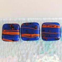 1 Fused Glass Knob Cabinet Knobs Pulls Home Decor Blue by sljglass, $15.00