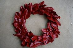 Laurel leaf red spray painted Christmas or Valentine day wreath or base for a wreath - DIY