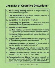 you thinking rationally?Checklist of Cognitive Distortions. (CBT & understanding your thought processes - anxiety, stress, panic & depression) Cbt Therapy, Therapy Worksheets, Therapy Activities, Speech Therapy, Cognitive Distortions Worksheet, Cognitive Dissonance, Counseling Techniques, Play Therapy Techniques, Cbt Techniques