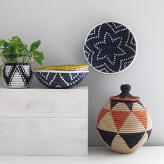 Handwoven sisal and sweetgrass floor basket inspired by Marrakech.