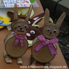 KITA - IDEENKISTE! Nicht nur für ErzieherInnen!: Hasen aus Holzscheiben