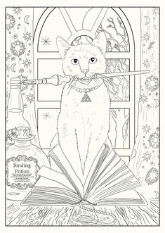 Discover recipes, home ideas, style inspiration and other ideas to try. Witch Coloring Pages, Coloring Pages For Grown Ups, Detailed Coloring Pages, Free Adult Coloring, Cat Coloring Page, Cool Coloring Pages, Animal Coloring Pages, Coloring Books, Colouring Pages For Adults