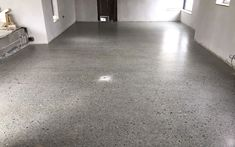 Concrete polished to a platinum finish