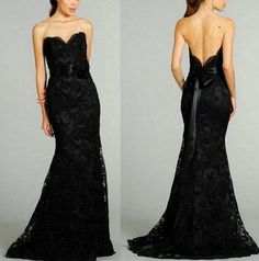 http://www.weddingstuff2014 New Black Lace bridesmaid dress Long Sexy  Strapless by VEIL8, $146.00