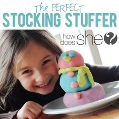 It is SO easy to make and SO much better than the stuff you buy at the store. This recipe makes the softest, sqUISHiest, longest lasting play dough…EVER! Non Toy Gifts, Diy Gifts, Diy For Kids, Crafts For Kids, Kids Fun, Kids Stockings, Homemade Playdough, Make Happy, Stocking Stuffers