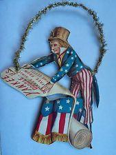 Antique Patriotic Victorian  Flag Scrap Christmas Ornament Uncle Sam