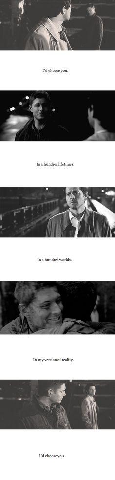 Dean + Castiel: I'd choose you.  #spn #destiel