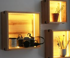 These LED wall cube shelves would be great to display any objects you might want to highlight, or as a simple lighting fixture. The basic concept is simple - shelves shaped as cubes, with integrated lighting strips that illuminates the wood and the object