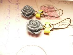 Gray and Yellow Rose Bow Rhinestone Dangle by VerdegrisGifts, $17.00