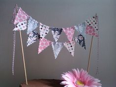 DIY??  Cake Bunting Charcoal, Grey Pink and Purple Fabric Cake Topper. $20.00, via Etsy.