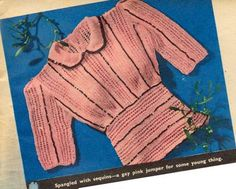 The Vintage Pattern Files: Knitting - Jumper With Black Sequins Beginner Knitting Patterns, Knitting For Beginners, Knit Patterns, Vintage Patterns, Sewing Patterns, Vintage Knitting, Vintage Crochet, Baby Knitting, Crochet Food