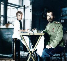 Tsar Nicholas II with son, Alexei. His mother's decision to treat his haemophilia using t. Black N White Images, Black And White, Romanov Sisters, Joseph Stalin, Russian Revolution, Tsar Nicholas Ii, Imperial Russia, Colour Images, Vintage Photographs