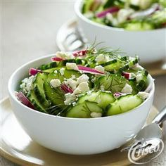 This Fresh Cucumber & Feta Salad from Crisco® is a simple side dish that is ready in 10 minutes! Just cut, combine, toss and serve! (recipe for cucumber salad olive oils) Cucumber Feta Salad, Cucumber Recipes, Cranberry Apple Recipes, Brussel Sprout Salad, Sprouts Salad, Brussels Sprouts, Crisco Recipes, Yummy Food, Delicious Meals