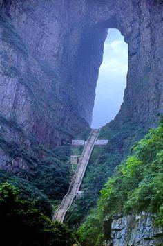 Heaven's Gate Mountain, Zhangjiajie City, China. Stair master anyone? lol