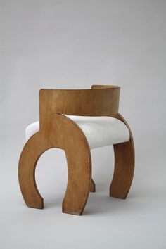 """Curved-Back dining chairs"" designed by Gerald Summers. c. 1936. Birch plywood, calico."