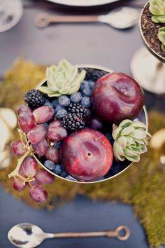 Fruit and succulent wedding centerpieces