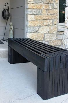 More Than 25 Tinker With Holz Diy Garden Bench Black From Wooden Boards ; tinker with holz_diy garden bench black from wooden boards ; Unique Gardens, Amazing Gardens, Diy Bank, Built In Bench, Bench Seat, Diy Garden Decor, Easy Garden, Wooden Diy, Outdoor Furniture