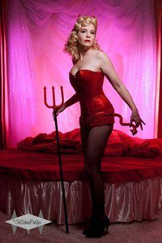 #RedDevil #Pinup at @Sharon Johnson www.oldschoolpinups.com