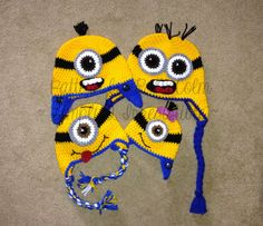 Minion Hat - Crochet Pattern 63 - US and UK Terms -  Beanie and Earflap - Newborn to Adult - Instant DOWNLOAD