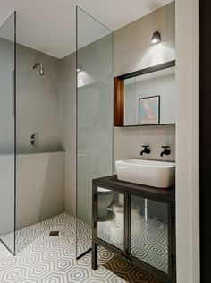 Tile floors, glass walls