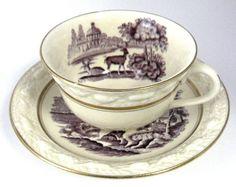Purple Transferware Cup And Saucer Adams Italian Scenery 1920s Landscape Ironstone