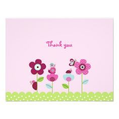 Ladybug Butterfly Garden Thank You Note Cards Personalized Announcements