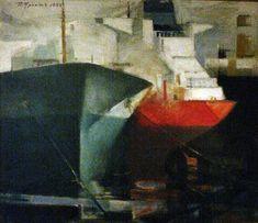 """Tankers Cycle 1"" (1983) - Paris Prekas - Foter Video Artist, Greek Art, Seascape Paintings, Artist Gallery, Find Pets, Color Of Life, Contemporary Art, Painters, Artists"