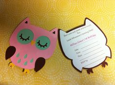 I like this invite idea for a girls 'Owl' theme bday party.