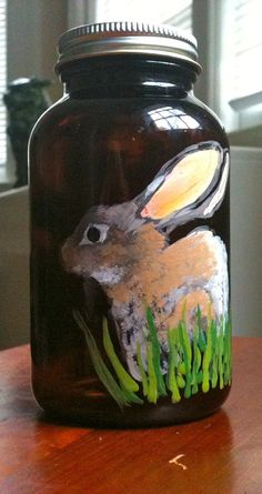 Sweet Bunny Handpainted on an Upcycled Brown Glass Bottle. $25.00, via Etsy.