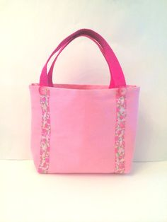 Pink Tote Bag with Floral Stripes on Etsy, $22.00